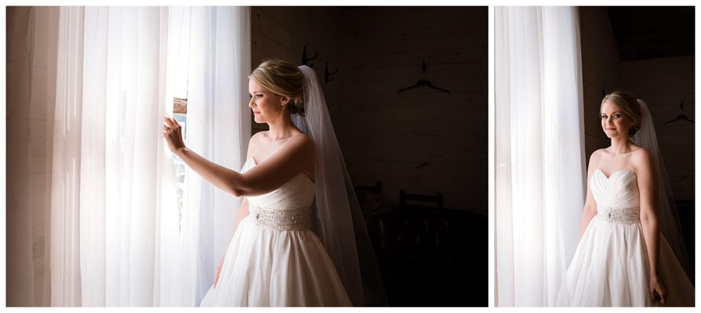 Bride peaking through the window to see if the groom has arrived yet